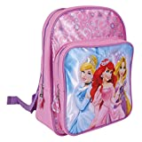 Disney Princess Backpack for Girls - Pink School Bag with Front Pocket with Ariel, Cinderella and Rapunzel - Small Backpack for School and Kindergarten - 30x23x11 cm - Perletti