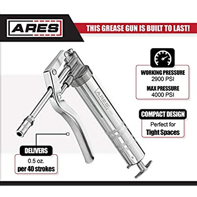 ARES 71035 - Mini Grease Gun - Includes 9-Inch High Pressure Nylon Hose and 4-Inch Rigid Extender - 4,000 PSI Max Pressure and 2,900 PSI Working Pressure - 2-Direction Outlet Design: Automotive