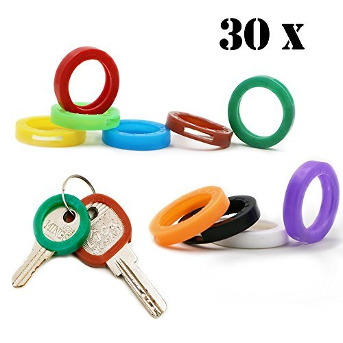 Five-of-Five 30x Key Caps Tags House Key Covers, Color Key Coded Key ID Rings, Upgraded Material & Modern Design, Strong Toughness in 10 Different Colors - Perfect Coding System to Tag Your Keys - Key Tag System