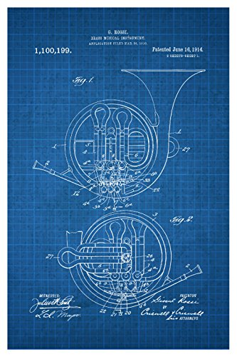 French Horn Wall - ArtsyCanvas French Horn - White on Blue - Instrument Patents - 16x24 Matte Poster Print Wall Art