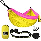 Automotive : Gold Armour Camping Hammock - USA Brand Single Parachute Hammock (2 Tree Straps 16 LOOPS/10 FT Included) Lightweight Nylon Portable Adult Kids Hammock, Best Camping Accessories Gear (Yellow/Pink)