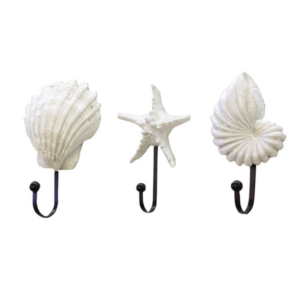 ANZOME 3 Pcs Mediterranean wind shell conch starfish hooks, cloakroom wall hanging bar Decorative Bedroom A living The entrance room Wall hanging Home Bathroom Koopon