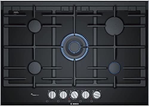 Bosch PRR7A6D70 hobs Negro Integrado Encimera de gas - Placa (Negro, Integrado, Encimera de gas, Vidrio, 1100 W, Alrededor)