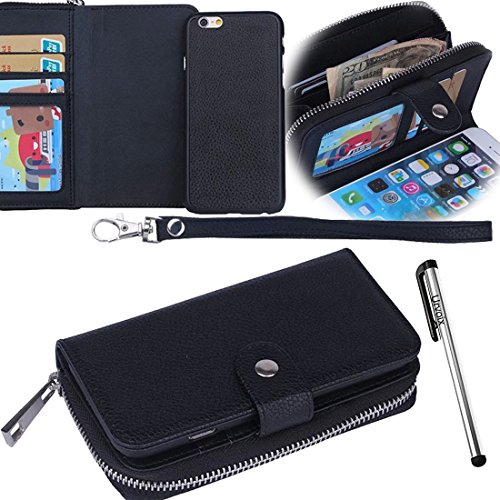 Urvoix Case for iPhone 5 5S, Wallet Zipper Flip PU Leather Case Separable/Detachable Protective Back Cover for iPhone 5 5S Black
