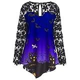 Xmiral Women Halloween Top Fashion O-Neck Lace Patchwork Asymmetrical Long Sleeve T-Shirt Blouse (L,Purple1)