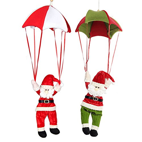 (Biowow 2 Pack Parachute Santa Claus Christmas Gift Decorations Red Green)