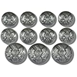 WATERBURY BUTTONS ~VINTAGE SILVER FINISH~ AMERICAN CIVIL WAR ~UNION ARMY EAGLE EMBLEM~ Premium METAL BLAZER BUTTON SET~ 11-Piece Set of Shank Style Fashion Buttons for Single Breasted Blazers, Sport Coats, Suit Jackets & Military Uniforms ~ METALBLAZERBUTTONS.COM