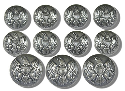 Premium WATERBURY Metal ~VINTAGE SILVER 11-Piece SINGLE BREASTED~ AMERICAN CIVIL WAR ~UNION ARMY EAGLE EMBLEM~ UNIFORM Sport Coat Jacket SHANK Style BLAZER BUTTON SET ~ MetalBlazerButtons.com made in New England