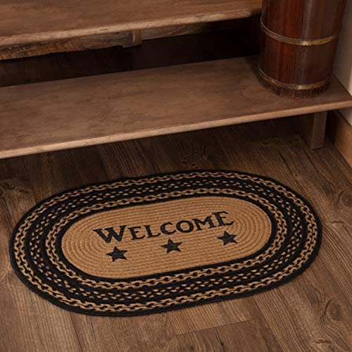 Classic Country Primitive Flooring - Farmhouse Jute Black Stenciled Welcome Rug, 1'8