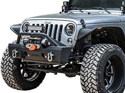 Havoc Metal Masher Jeep JK Wrangler Stubby Front Bumper with Bull Bar 2007-2017