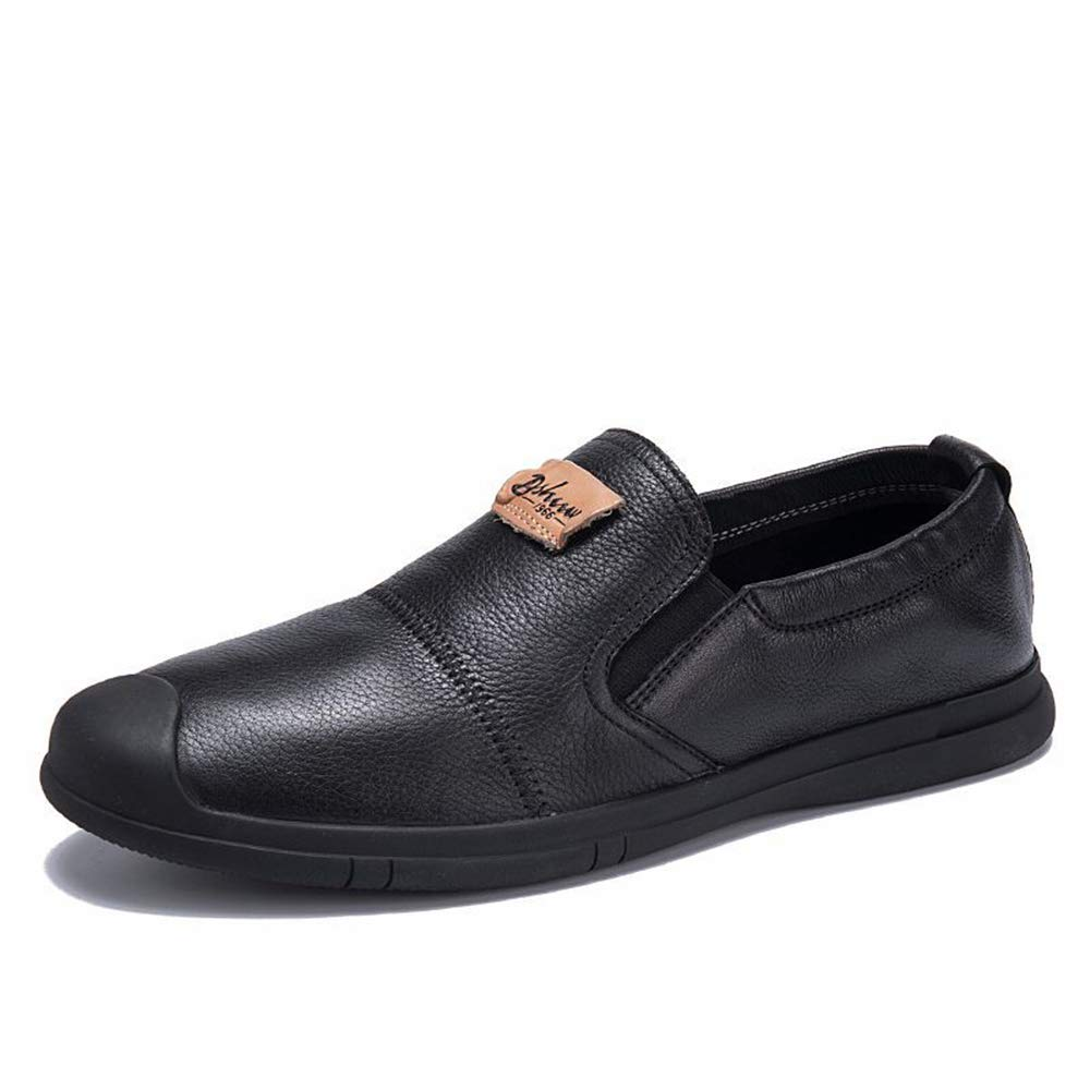 Qiusa Weiche Sohle beiläufige beiläufige beiläufige Geschäfts-Formale Schuhe für Männer schnüren Sich Oben echtes Leder Beleg auf Schuhen (Farbe   Schwarz, Größe   EU 42) 4447f3