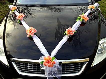 Autoschmuck Organza M D/écoration de voiture de mariage ruban organza et roses violet