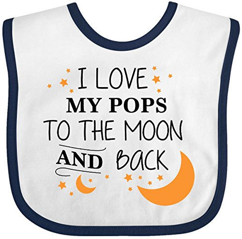 Inktastic - I Love My Pops To The Moon and Back Baby Bib White/Navy (Pop Outfits)