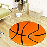 Black White Football/Basketball Round Carpet and Rugs Children Boys Sport Room Area Washable Non-Slip Chair Mat