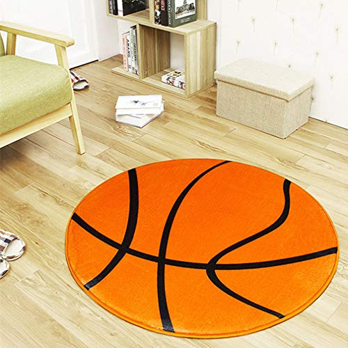 Black White Football/Basketball Round Carpet and Rugs Children Boys Sport Room Area Washable Non-Slip Chair Mat by Zarbrina