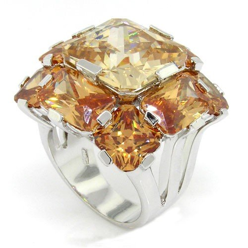 Cocktail Ring Diva (Spectacular Diva Cocktail Ring w/Champagne CZs, 7)