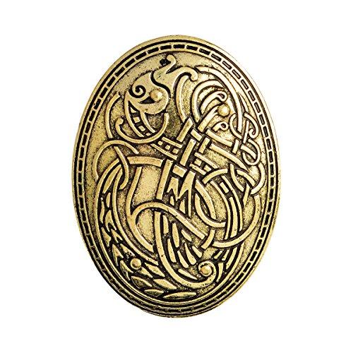 Jewelry Brooch (QIHOO Norse Medieval viking shield symbol brooch (Gold))