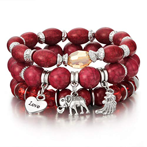 SINOBI 4 Wrap Women Boho Bracelets Multicolor Stretch Beaded Stackable Charm Bangles Natural Gemstone Jewelry for Women Men