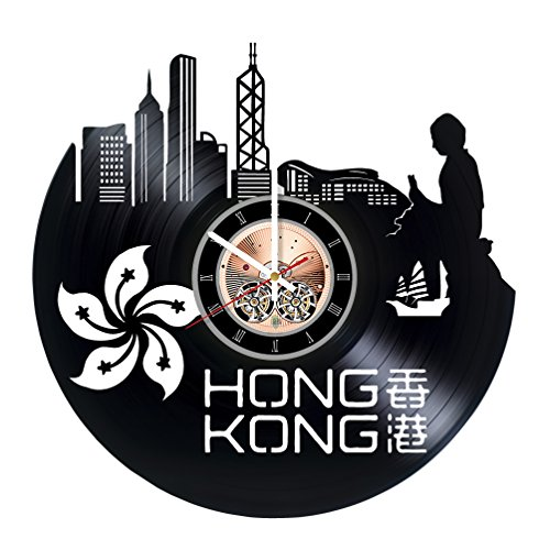 Hong Kong Map Vinyl Record Wall Clock - Bedroom wall decor - Gift ideas for friends, men and women – City Unique Art - Chicago Map Airport