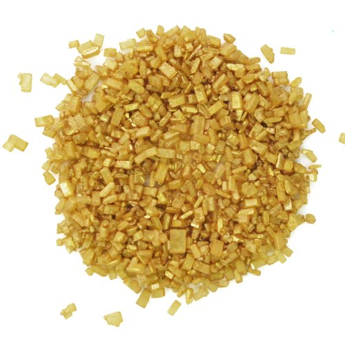 Sugar Crystals Edible Sprinkles - Dress My Cupcake DMC27116 Decorating Pearlized Colored Sugar Crystals for Cakes, 4-Ounce, Gold