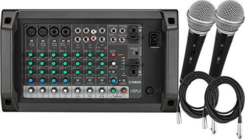 Yamaha EMX2 10 Channel 2x250W Powered Mixer w/ 2 Mics and Cables by Yamaha