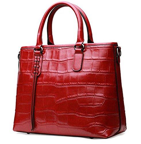 La primavera y el verano suave color sólido patrón Cocodrilo bolsos de cuero Bolsos de cuero bolso de mano femenina más salvaje paquete diagonal Rojo