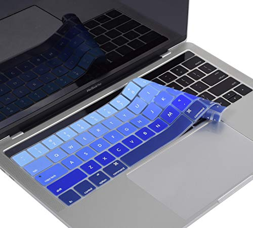 Gradient Keyboard Protector Cover Fit Newest MacBook Pro 13 Inch A1706 A1989 and MacBook 15 Inch A1707 A1990(with TouchBar, 2016/2017/2018 Released), Ombre Blue