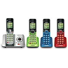 VTech CS6529-4B 4-Handset DECT 6.0 Cordless Phone with Answering System and Caller ID, Expandable up to 5 Handsets, Wall-Mountable, Blue/Green/Red/Silver