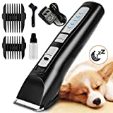 Oneisall Heavy Duty Dog Hair Clippers, Professional Rechargeable Cordless Pet Grooming Trimmer Dog Shaver for Thick Hair Dogs Cats with Oil (Black & Silver)