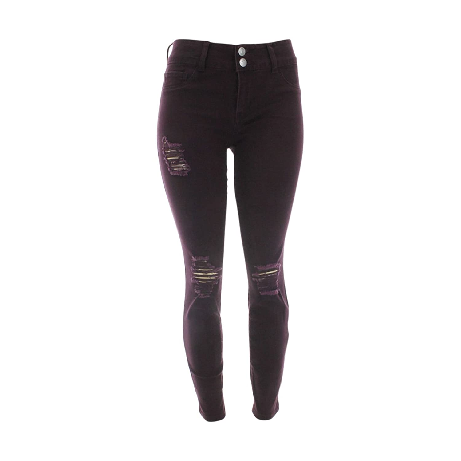 Cello Jeans - Women's 2 Button Knee Rips Skinny Jeans - Plum