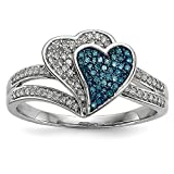 925 Sterling Silver Rhodium Plated Blue and White Diamond Anniversary Heart Ring Size 7 (0.33ct)