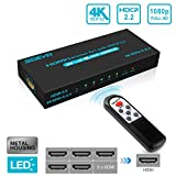 SGEYR 4K HDMI 2.0 Switch 5 in 1 Out HDMI Switch 4K 60Hz HDR Vision HDCP 2.2 3D 1080P Switcher with IR Remote, Compatible for PS4 Pro, UHD TV, Xbox One/360(5 Ports) (4k@60Hz hdmi Switch 5x1 v2.0)