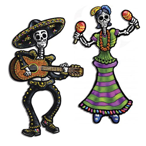 Beistle 2-Pack Jointed Day of The Dead Skeletons, (Dia De Los Muertos Door Decorations)