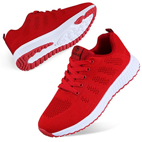 Youecci Women Lightweight Walking Shoes Ladies Lace Up Sneakers Mesh Go Running Trainers Low Top Breathable Athletic…