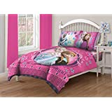 Disney Frozen Nordic Florals Comforter Set with Fitted Sheet, Twin, Pink