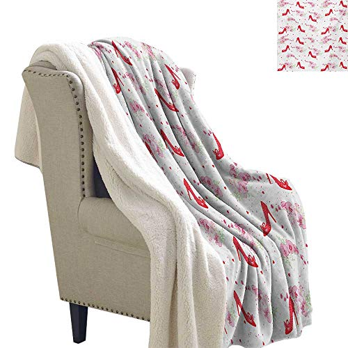 Sunnyhome Girls Lightweight Blanket 60x47 Inch Fashion Heels Precious Lady Shoes Pattern Orchid Flower Bouquet Petals Hearts Design Throw Blanket Red White ()
