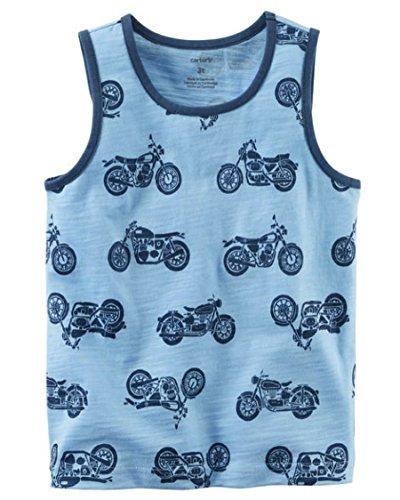 Carter's Playera para niño Tipo Camiseta sin Mangas Color Azul Estampado Motos 100% algodón Talla 5 Marca