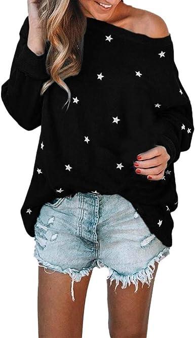 WARMWORD Camiseta Larga Mujer Manga Larga Algodón Cuello Redondo Sudadera con Estampado de Estrellas Blusas Tops Sexy Manga Larga Camisa Suelta Tops Mujer Fiesta Elegante Blusas de Mujer: Amazon.es: Ropa y accesorios