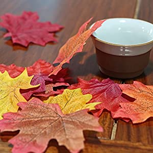 AmyHomie 300 Artificial Fall Maple Leaves in a Mixture of Autumn Colors - Great Autumn Table Scatters for Fall Weddings & Autumn Parties 3