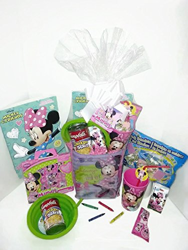 Disney Minnie Mouse Gift Basket, Get Well Soon, Care Package, Kids Action Pack Minnie Mouse Toy, Coloring Book, Bag, Tissues, Stickers, Cup + Candy Jewelry, Soup Bowl & Campbell's Soup 10pc Bundle (Halloween Party Games For Toddlers And Preschoolers)