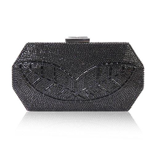 Damara Womens Leaf Pattern Crystal Sparkling Hardcase Evening Bag,Black (Pouch Metallic Bag Evening)