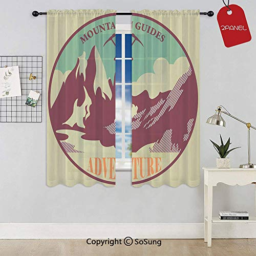 Journey Mountain Guides Trekking Climbing Camps Tourism Vivid Colorful Art Print Rod Pocket Sheer Voile Window Curtain Panels for Kids Room,Kitchen,Living Room & Bedroom,2 Panels,Each 42x63 Inch,Mult (Climbing Wires Voile)