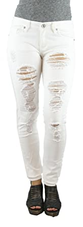 MACHINE JEANS White Destroyed Distressed Skinny Jeans - Waist 11 ...