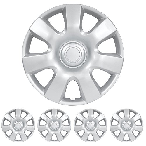 "BDK Toyota Camry Hubcaps Wheel Cover, 15"" Silver Replica Cover, (4 Pieces)"