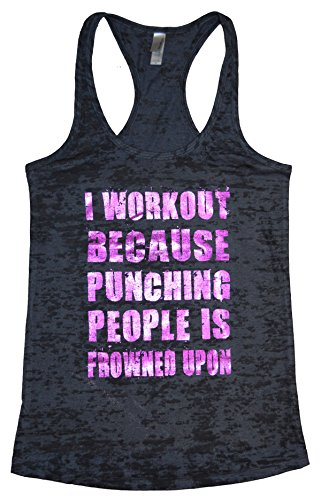 I Workout Because Punching People is Frowned Upon Funny Womens Tank Top Funny Threadz (Large, Black/Metallic Purple)