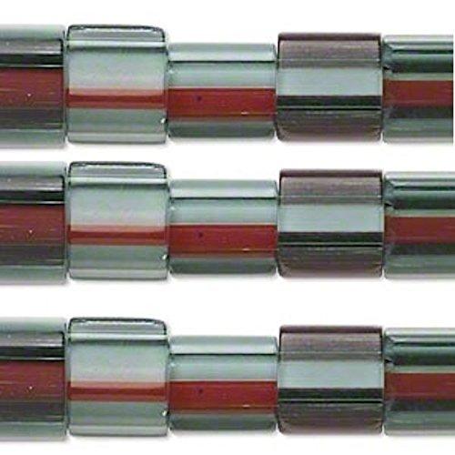 """15"""" Strand Emerald Green/Opaque White & Red Cane Glass Squar"""