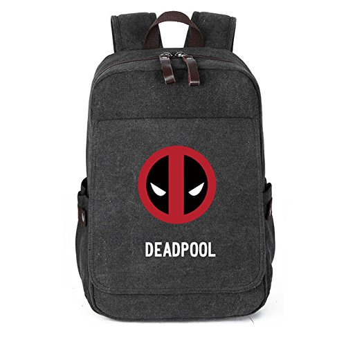 YOURNELO Leisure Travel Bag Rucksack School Backpack Bookbag (Deadpool Black 1) -