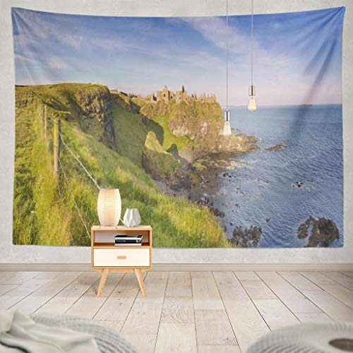 KJONG Morning Sunlight Castle Coast Northern Coast Wire Castle Coast Color Castle Decorative Tapestry,60X80 Inches Wall Hanging Tapestry for Bedroom Living Room ()