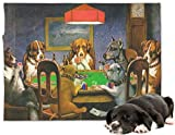 RNK Shops Dogs Playing Poker 1903 C.M.Coolidge Minky Dog Blanket - Regular