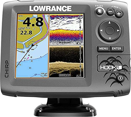 - Lowrance Hook-5 Sonar/GPS Mid/High/Downscan Fishfinder